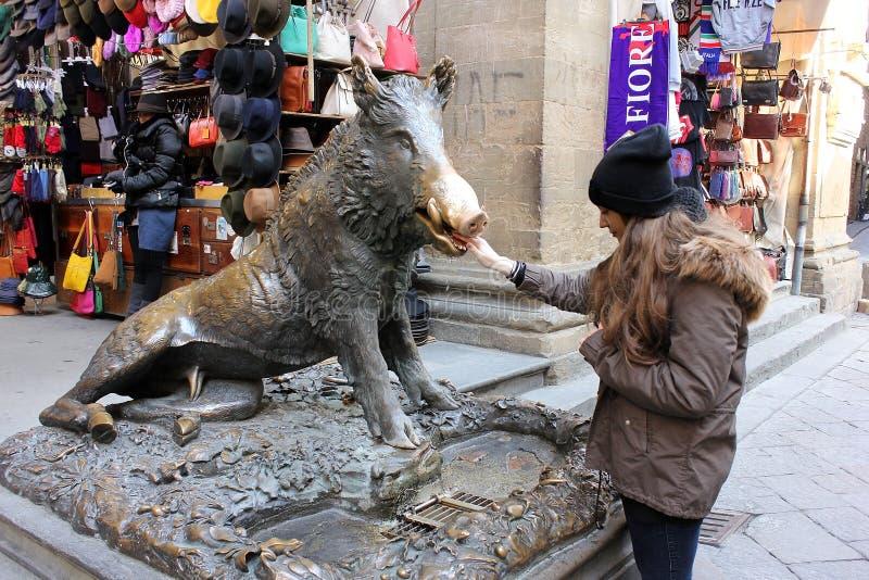 古铜色猪喷泉在佛罗伦萨 免版税图库摄影