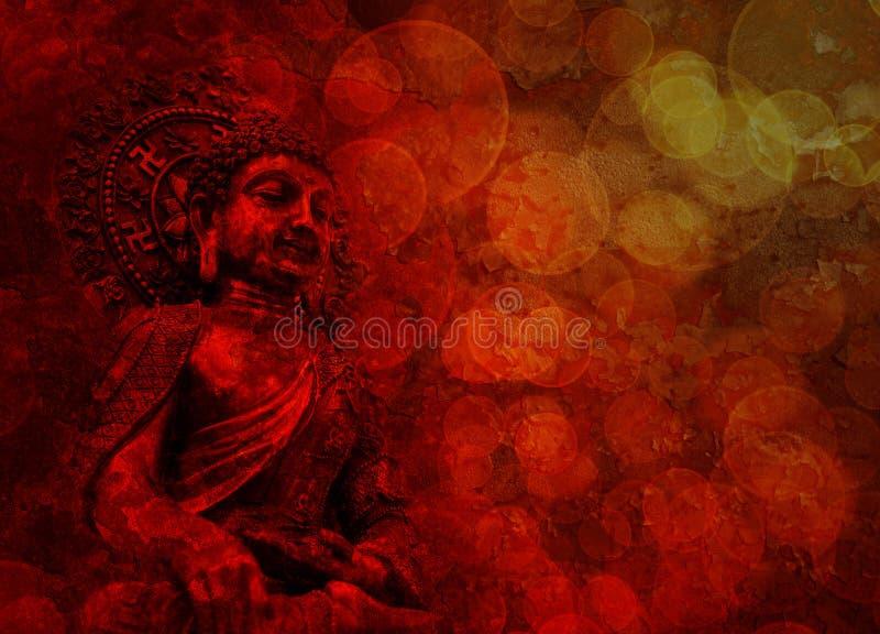 古铜色红色菩萨雕象开会 免版税图库摄影