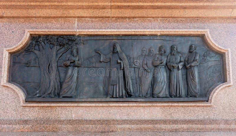 古铜色纪念碑细节对翼果的创建者的- Grig王子 库存图片