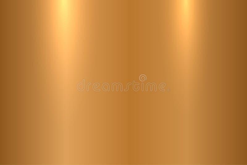 古铜色金属纹理 发光的优美的金属表面-传染媒介背景 库存例证