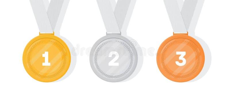 古铜色金牌被设置的银 优胜者的汇集或冠军奖或者奖励的体育比赛竞争 库存例证