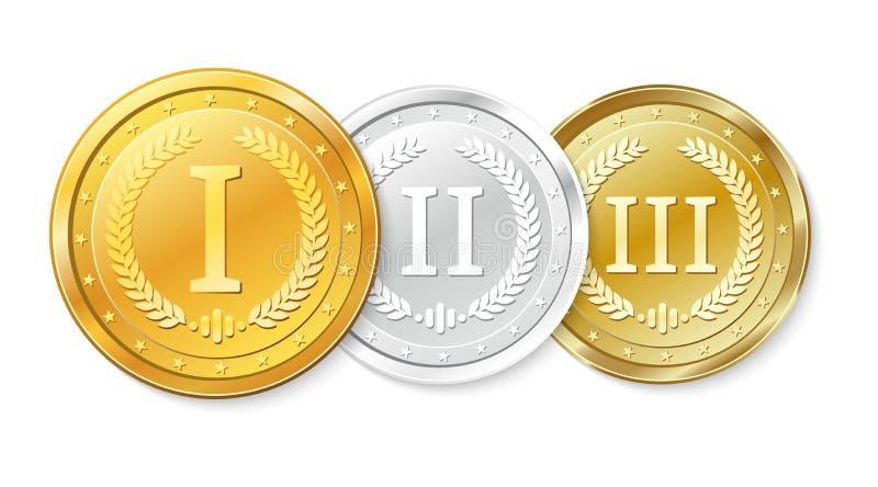 古铜色金牌被设置的银 首先的奖,第二和第三名 皇族释放例证
