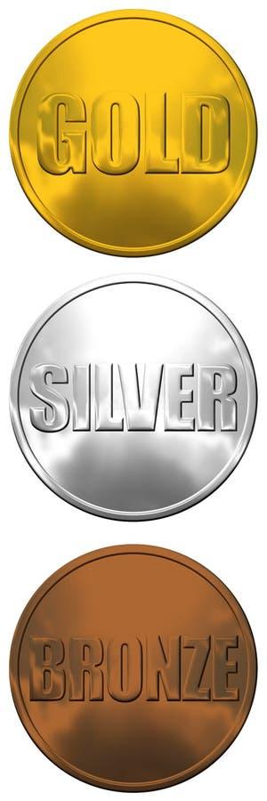 古铜色金牌银 免版税库存照片