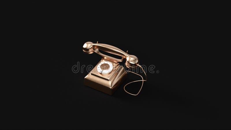 古铜色黄铜电话 库存例证