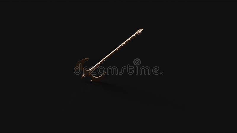 古铜色黄铜话筒和StandBronze黄铜战斧3d例证3d翻译 库存例证