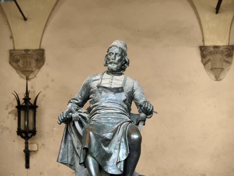 古铜色lucca puccini雕象 库存图片