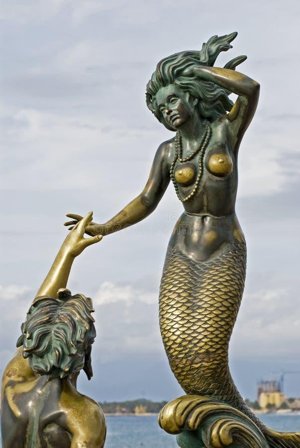 古铜色nereida雕塑氚核 免版税库存照片