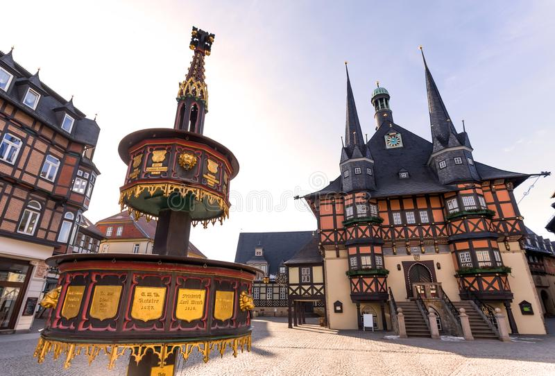古镇大厅wernigerode德国 免版税库存照片