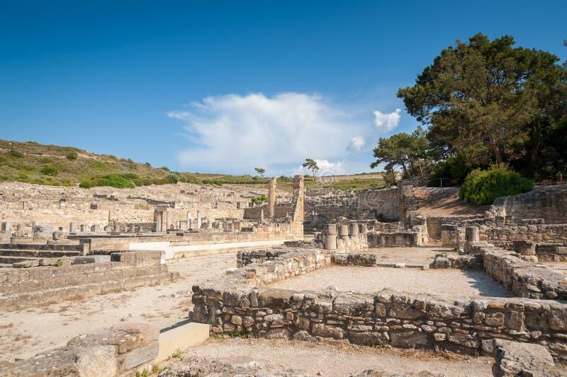 古镇Kamiros,荷马提及的希腊文化的城市遗骸,罗得岛希腊海岛  希腊 欧洲 免版税图库摄影