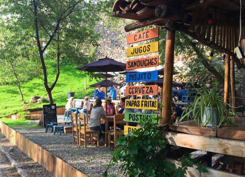 古雅室外咖啡馆在昆卡省,厄瓜多尔 库存照片