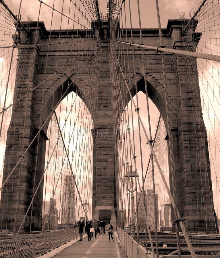 古雅布鲁克林大桥 免版税图库摄影