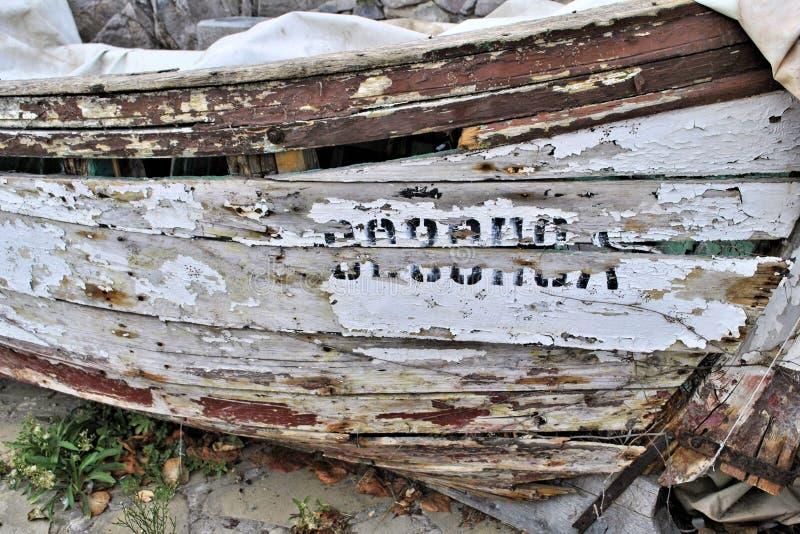 古风化木舟自然纹理细节 库存图片