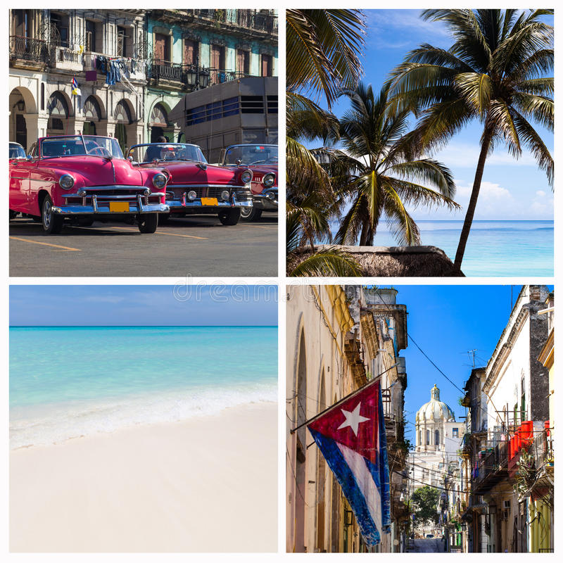 古巴与海滩和哈瓦那的照片拼贴画 免版税图库摄影