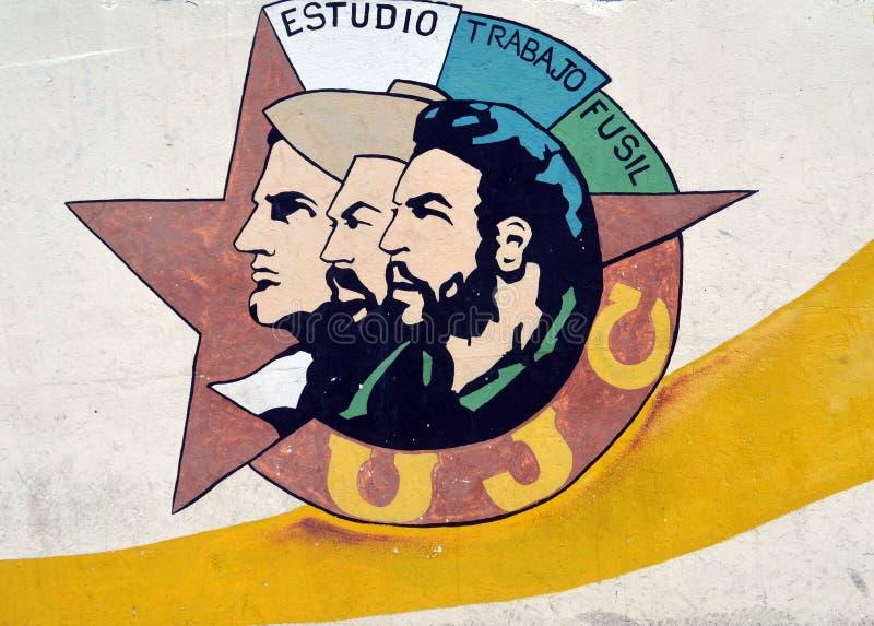 (古巴)年轻共产主义同盟的壁画在哈瓦那,古巴 免版税图库摄影