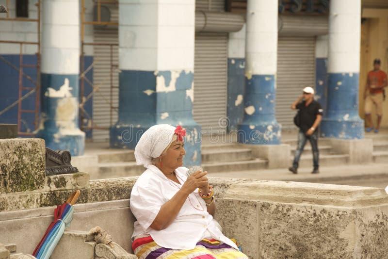 古巴哈瓦那旧城算命者 免版税图库摄影
