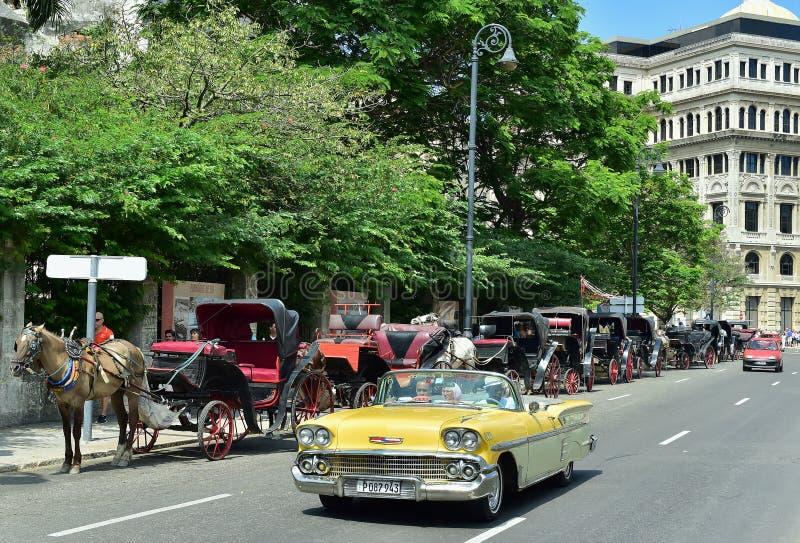 古巴哈瓦那 与老汽车的街道场面 库存图片