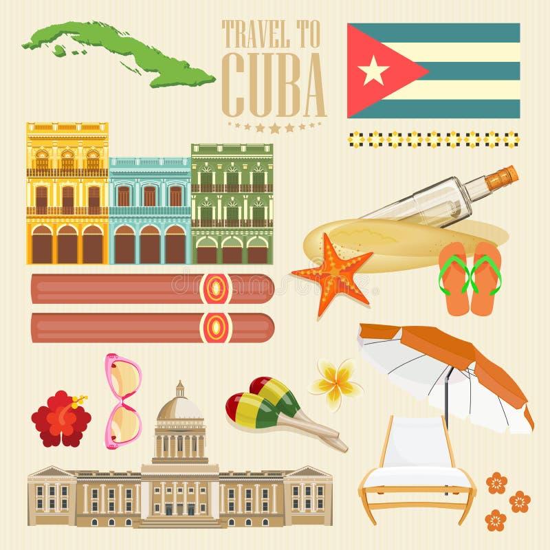 古巴旅行五颜六色的卡片概念 古巴人集合 欢迎光临古巴 圈子形状 与古巴文化的传染媒介例证 库存例证