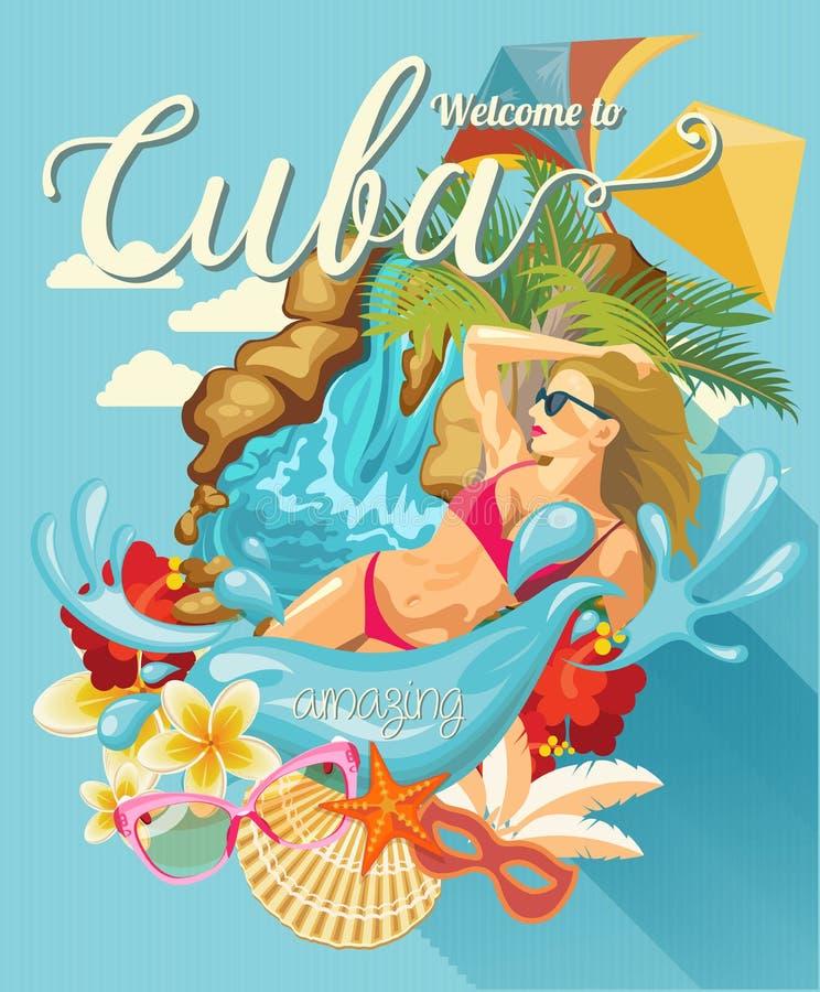 古巴旅行五颜六色的卡片概念 海滩胜地 欢迎光临古巴 圈子形状 与古巴文化的传染媒介例证 库存例证
