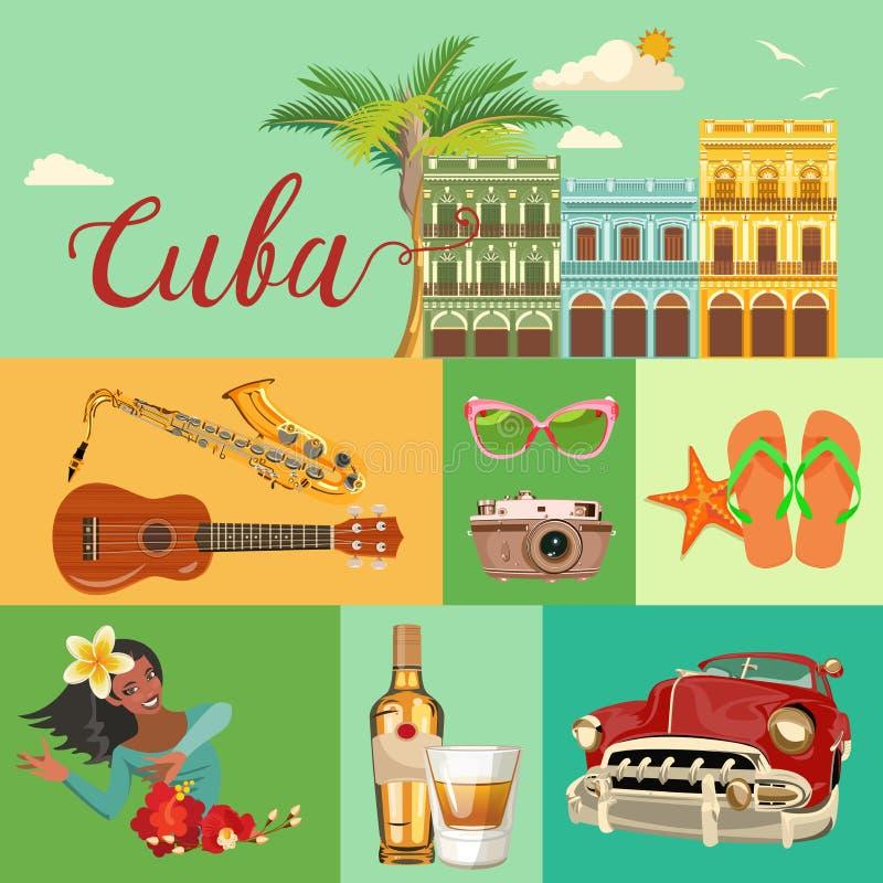 古巴旅行五颜六色的横幅概念 海滩古巴人手段 欢迎光临古巴 圈子形状 与古巴文化的传染媒介例证 向量例证