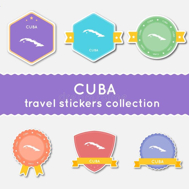 古巴旅行贴纸汇集 向量例证