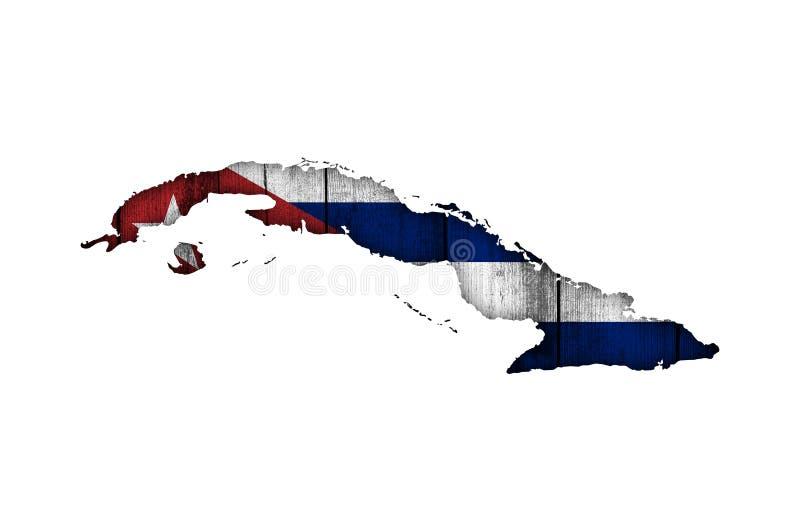 古巴的地图和旗子被风化的木头的 向量例证