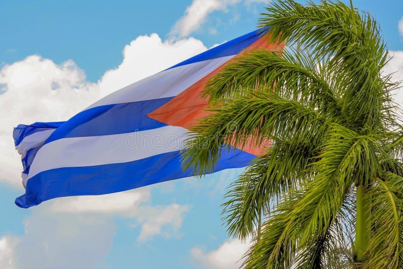 古巴的旗子在圣克拉拉 库存照片