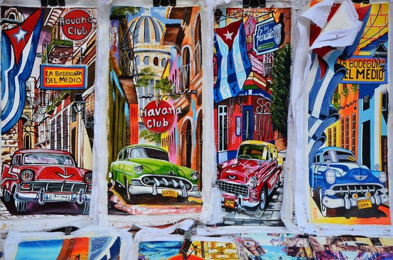 古巴的纪念品在地方市场,薛佛列绘上 免版税库存照片