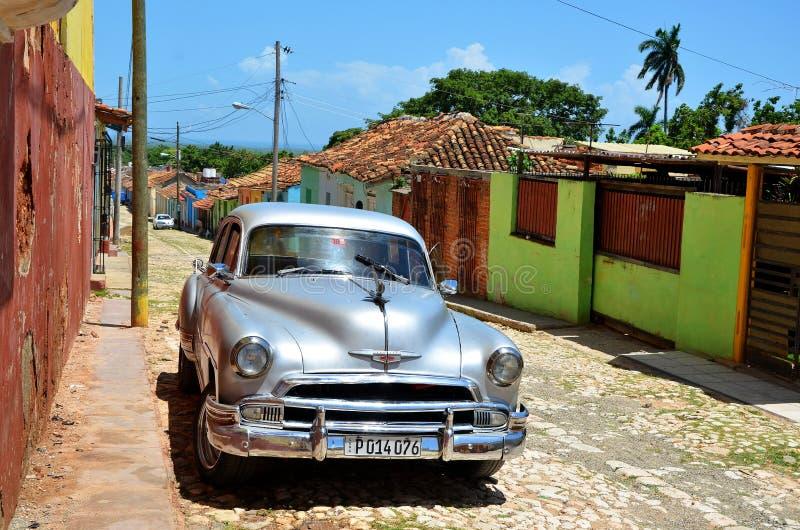古巴,特立尼达的美丽的汽车 免版税图库摄影