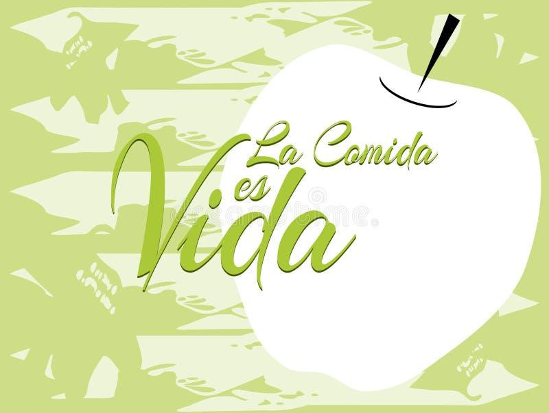 句子食物是生活用葡萄牙语 向量例证