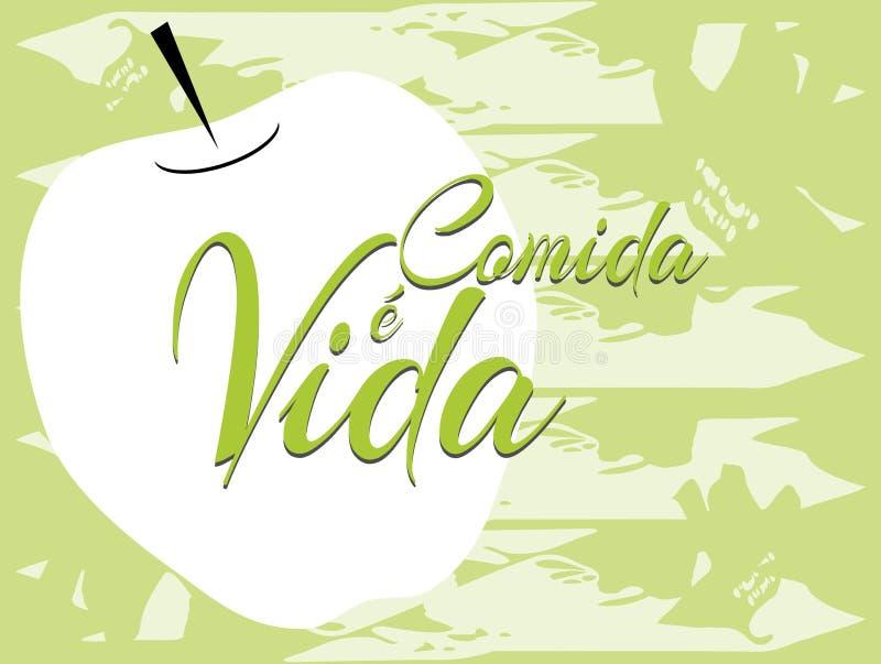句子食物是生活用西班牙语 库存例证