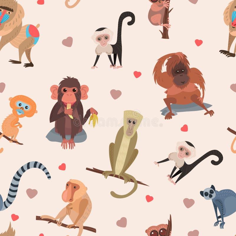另外动画片猴子品种字符动物狂放的动物园逗人喜爱的猿黑猩猩传染媒介例证无缝的样式 向量例证