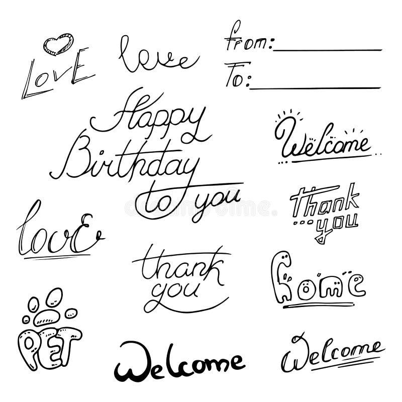 另外在上写字的样式字法,手拉和隔绝在白色背景 欢迎,Hapy生日,爱,宠物,谢谢, 向量例证