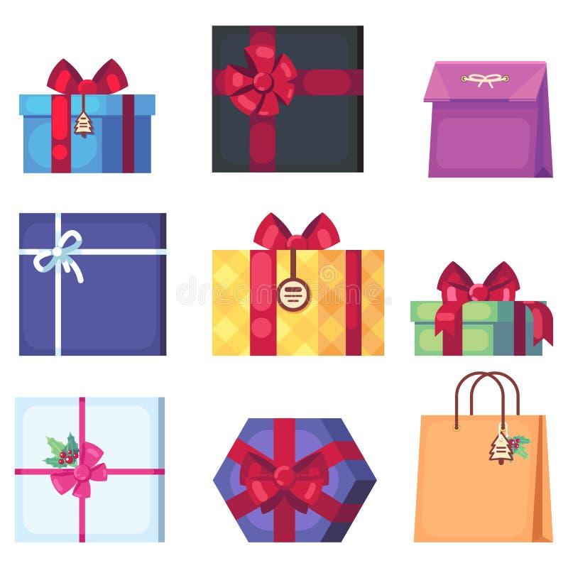 另外在白色背景隔绝的动画片当前箱子的汇集 在舱内甲板的新年s和圣诞节明亮的装饰 皇族释放例证