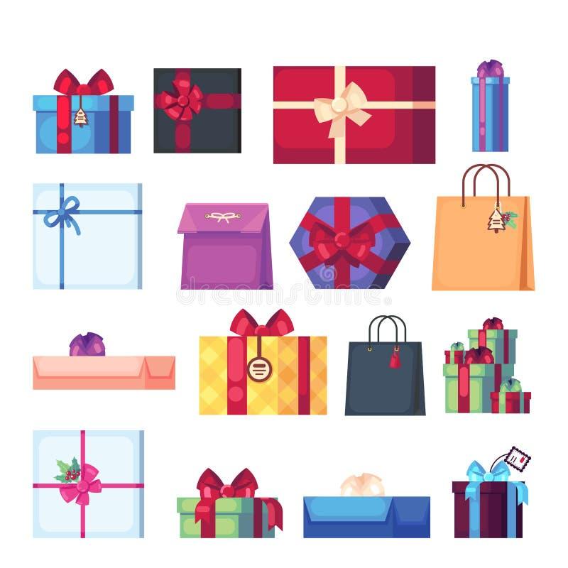 另外在白色背景隔绝的动画片当前箱子的汇集 在舱内甲板的新年s和圣诞节明亮的装饰 库存例证