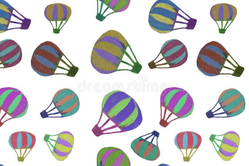 另外在高分辨率的白色透明背景隔绝的大小多彩多姿的热空气气球的无缝的样式 库存例证