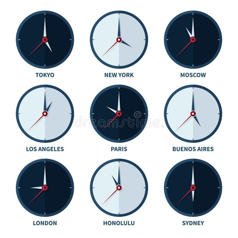 另外城市传染媒介集合时区的世界时钟  库存例证