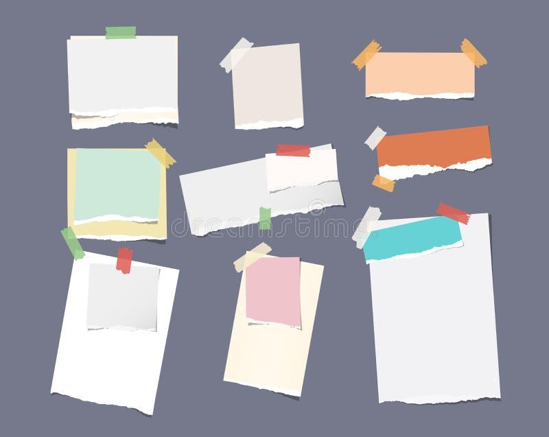 另外大小片断统治了五颜六色的明亮的笔记,笔记本,习字簿纸板料困住与稠粘的磁带在深灰 库存例证
