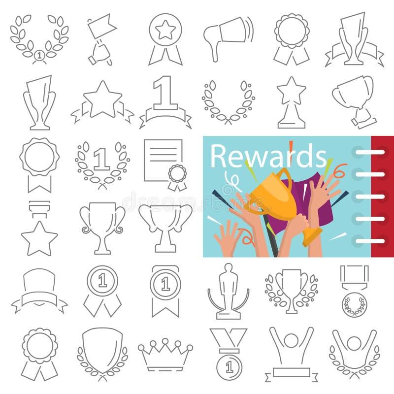 另外奖和奖励线被设置的象装饰了主题颜色平的例证 库存例证