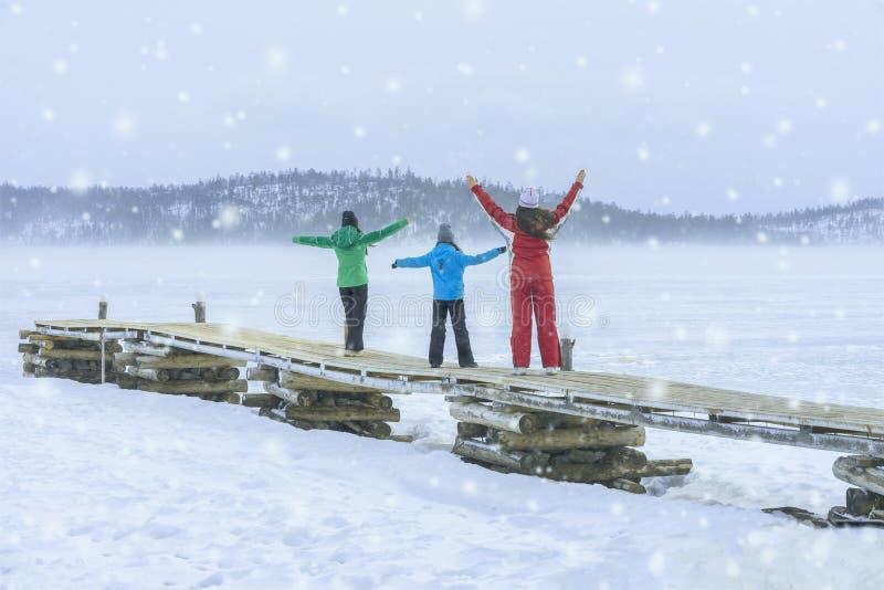 另外年龄和高度的三个女孩在五颜六色的冬天衣服与雪花在自然在一寒冷,比赛和 免版税库存图片