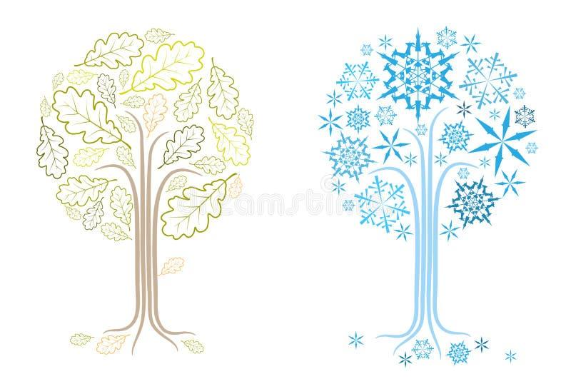 另外橡木晒干结构树向量 库存例证