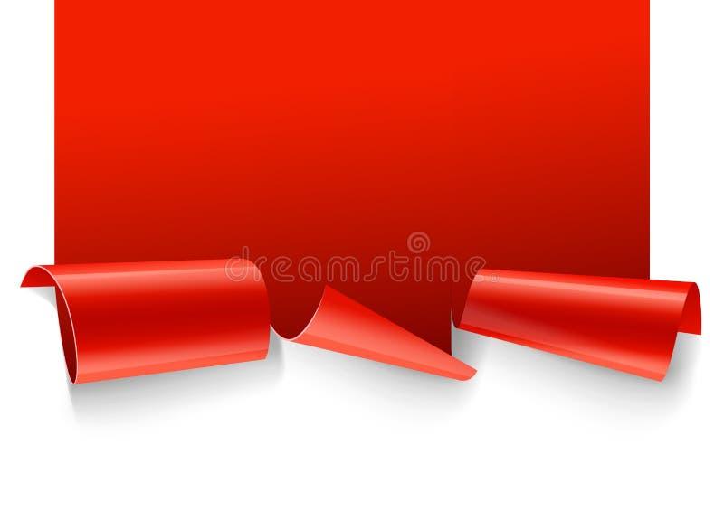 另外的横幅是能被更改的格式销售额 现实红色光纸丝带 库存例证