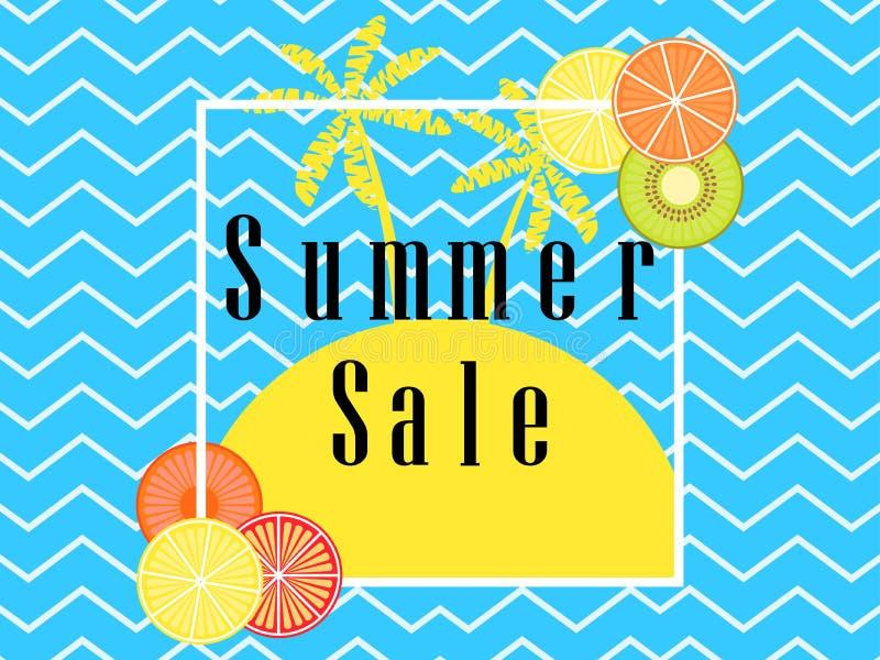 另外的背景是蓝色蝴蝶装生动被更改的标志格式销售额天空夏天的星期日于罐中 横幅布局用果子和棕榈树在框架 向量 库存例证