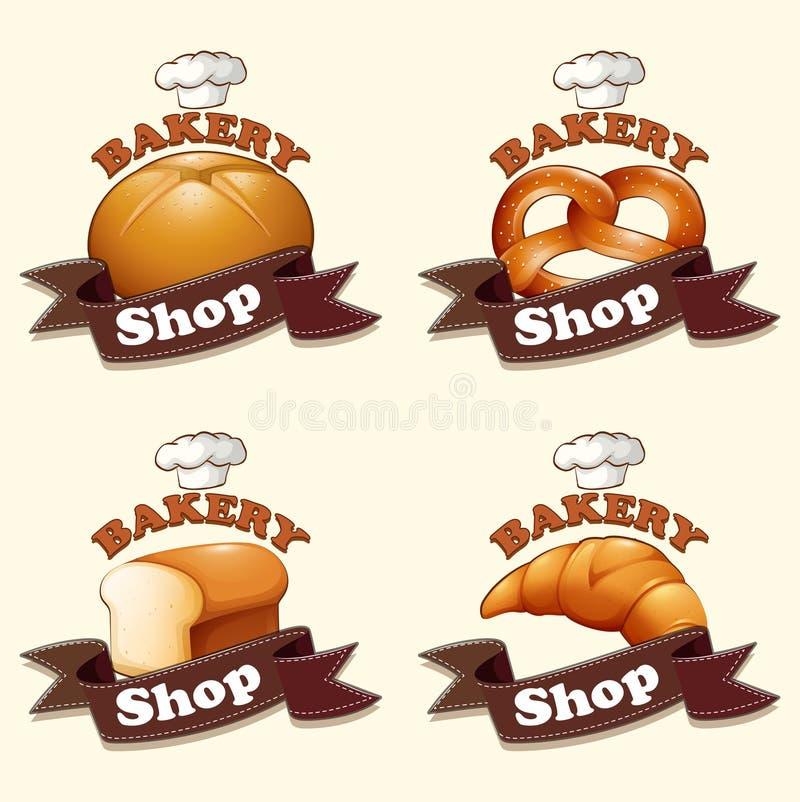 另外种类面包和标志 向量例证