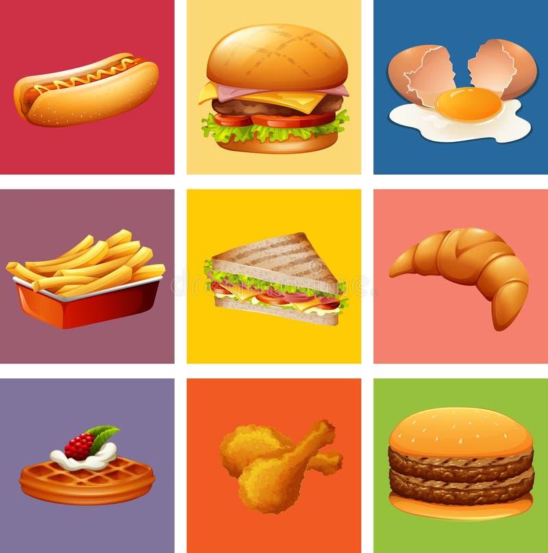 另外种类食物和点心 库存例证
