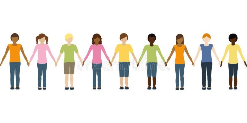 另外肤色举行彼此的手的孩子 库存例证