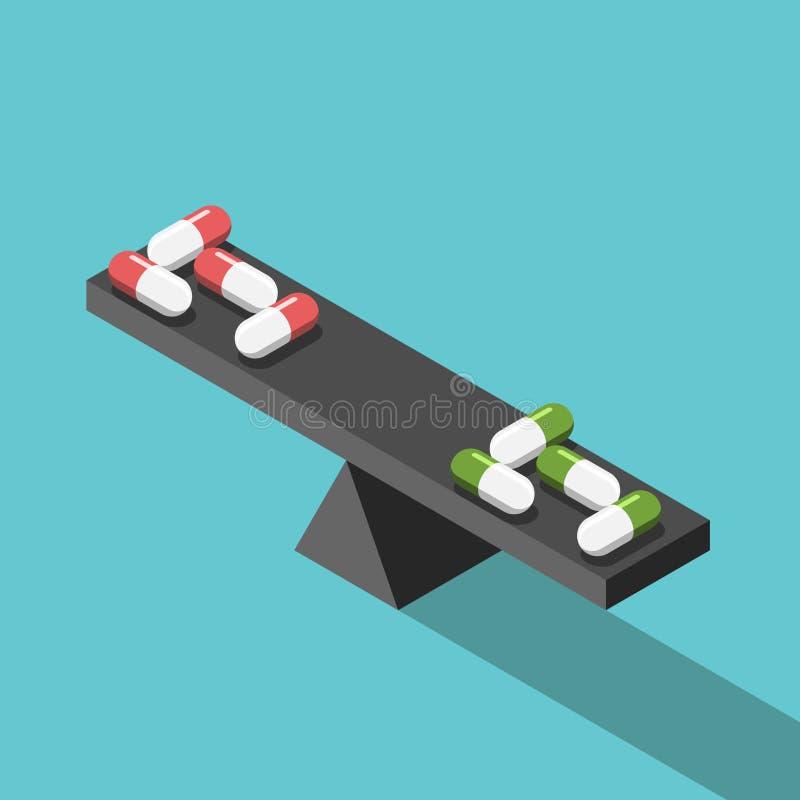 另外药片比较,平衡 库存例证