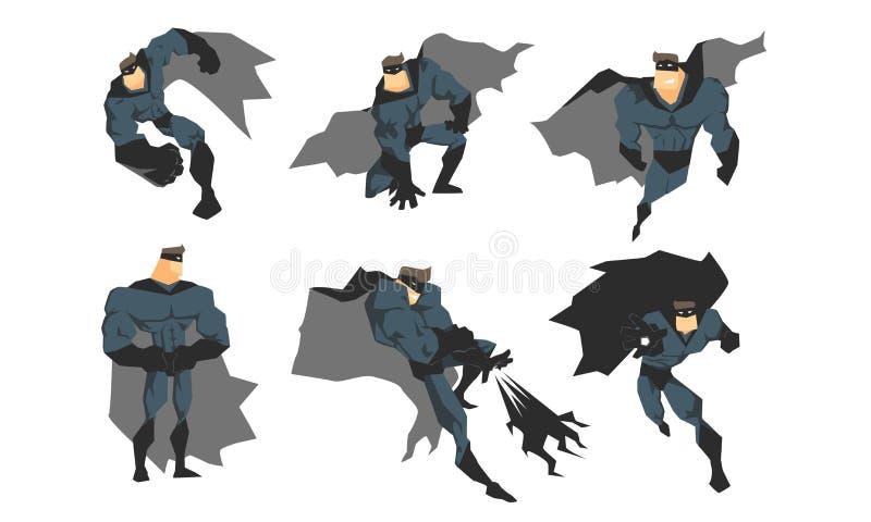 另外行动的男性超级英雄摆在灰色服装的集合,勇敢的超级英雄字符,挥动的斗篷和黑色 库存例证