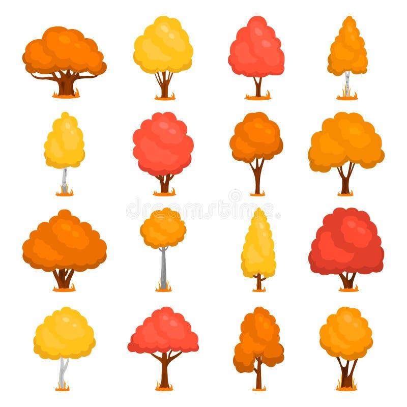 另外被设置的秋天树颜色平的象 向量例证