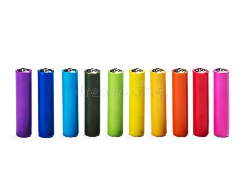 另外被隔绝的颜色碱性电池 库存图片