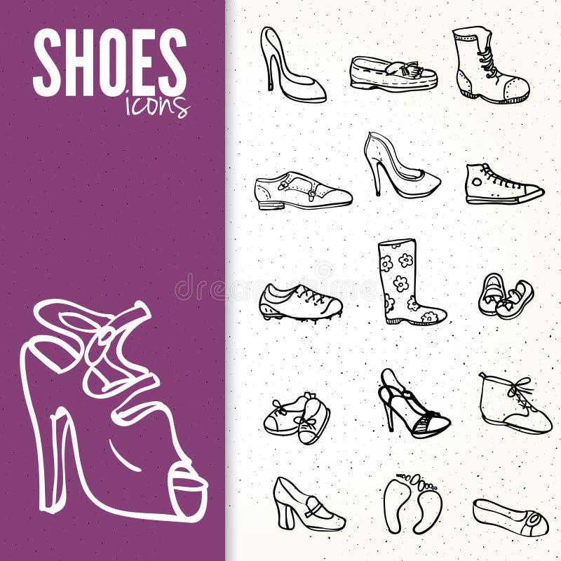 另外鞋子象集合,传染媒介例证 皇族释放例证